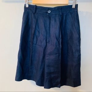 Vintage Retro Navy Linen High Waisted Shorts
